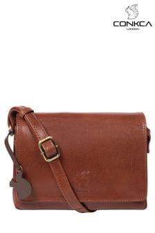 Conkca ?Brown Marta Leather Cross Body Bag