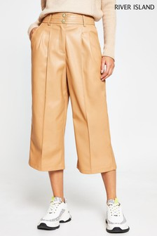 River Island Beige Pleat Front Culottes