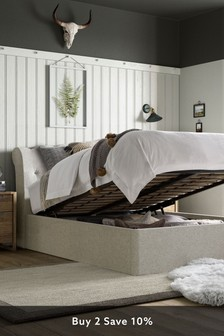 Wool Blend Stone Hartford Ottoman Storage Bed