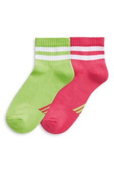 Neon Cushioned Sole Cropped Ankle Socks Two Pack