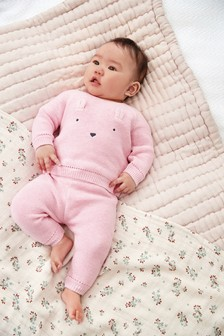 Pink Character Knitted Jumper And Joggers Set (0mths-2yrs)