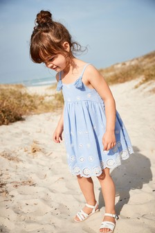 Blue Broderie Dress (3mths-7yrs)