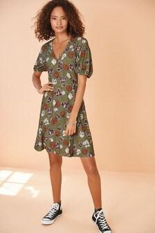 Khaki Floral Crepe Wrap Dress
