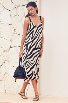 Zebra Print Midi Slip Dress
