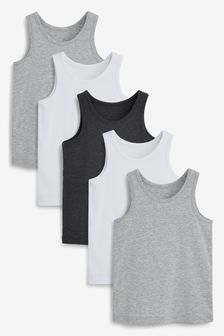Grey/White 5 Pack Organic Vests (1.5-16yrs)