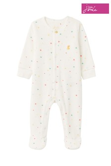 Joules White The Velour Babygrow