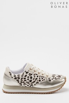 Oliver Bonas Gold & Animal Neutral Trainers