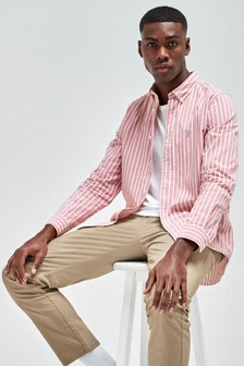 Pink Regular Fit Stripe Stag Shirt