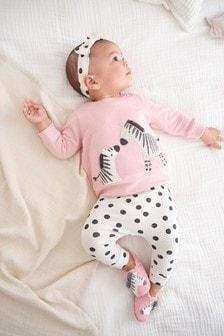 Pink/Cream 4 Piece Zebra/Spot Set (0mths-2yrs)