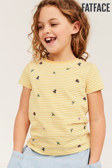 FatFace Yellow Bug Embroidered Breton T-Shirt