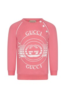 GUCCI Kids Baby Girls Pink Cotton Sweater