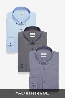 Dark Blue Check And Texture Slim Fit Single Cuff Shirts Three Pack