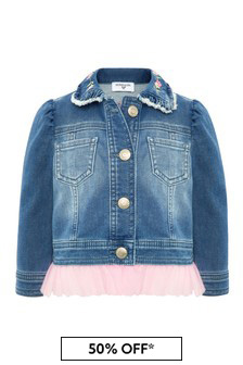 Monnalisa Baby Girls Blue Cotton Denim Jacket