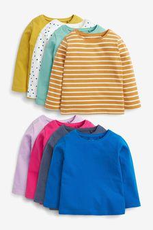 Bright 8 Pack Cotton Long Sleeve T-Shirts (3mths-7yrs)