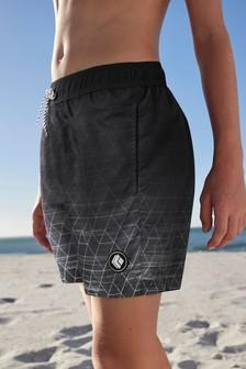 Black Geo Print Swim Shorts (3-16yrs)