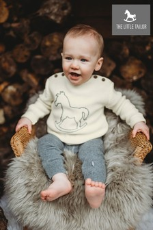 The Little Tailor Cream Button Rocking Horse Baby Knit Jumper