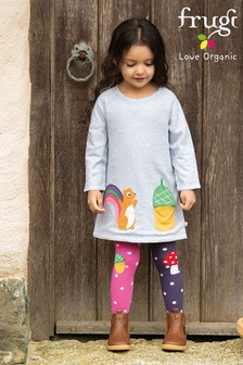 Frugi GOTS Organic Reversible Squirrel/Acorn Dress