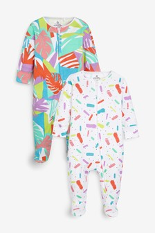 Multi 2 Pack Palm Print Zip Sleepsuits (0mths-2yrs)