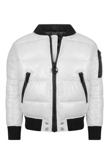 Boys White Logo Padded Jacket