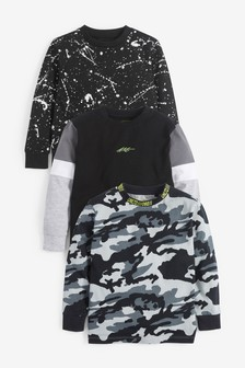 Monochrome 3 Pack Camo/Colourblock Long Sleeve T-Shirts (3-16yrs)