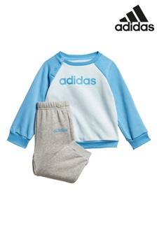 adidas Infant Blue/Grey Crew And Jogger Set