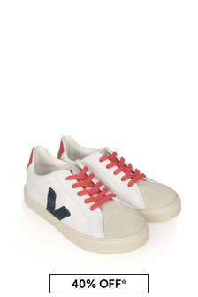 Veja White Nautico Leather Lace-Up Esplar Trainers
