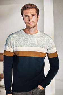 Navy/Grey Colourblock Jumper