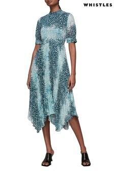 Whistles Esme Dalmation Print Pleasted Midi Dress