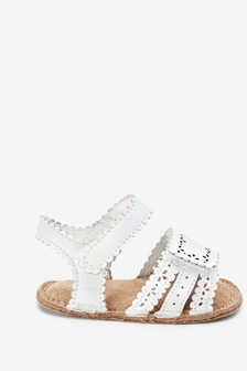White Leather Little Luxe™ Pram Sandals (0-18mths)