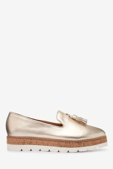 Gold EVA Cork Leather Slipper Shoes