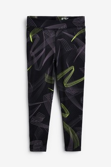 Black/Lime Sports Leggings (3-16yrs)