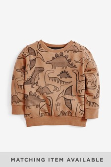 Tan Dino Crew All Over Print Jersey (3mths-7yrs)