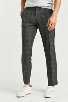 Charcoal Regular Fit Check Trousers
