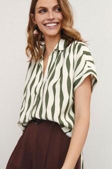 Geometric Print Khaki Short Sleeve Overhead Shirt