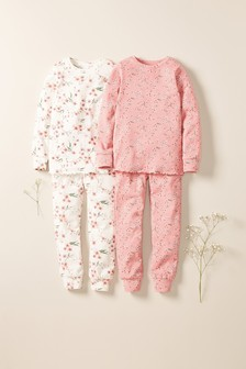 Pink/Cream 2 Pack Oriental Floral Snuggle Pyjamas (3-16yrs)