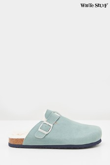 White Stuff Green Poppy Suede Footbed Slippers