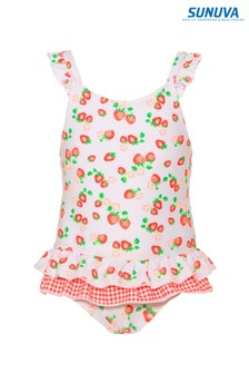 Sunuva White Wild Strawberries Frill Swimsuit