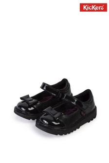 Kickers® Black Patent Bow Shoes