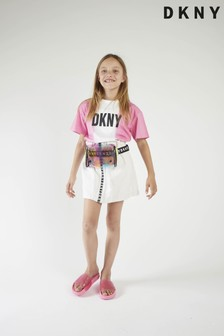 DKNY White/Pink Ombre Logo T-Shirt