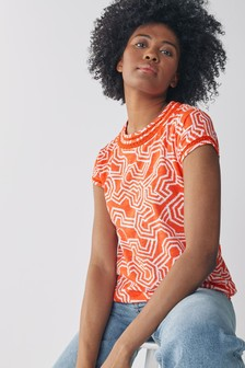 Red Geo Print Bubblehem T-Shirt