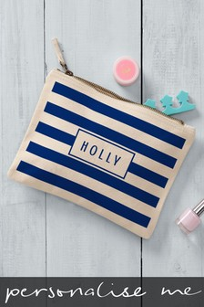 Cream/Navy Personalised Striped Large Cosmetic Bag