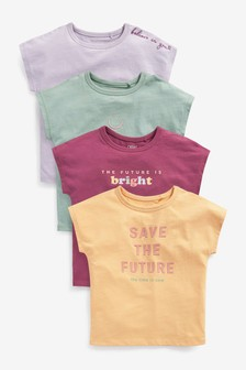 Multi Short Sleeve 4 Pack Muted Tone T-Shirts (3-16yrs)