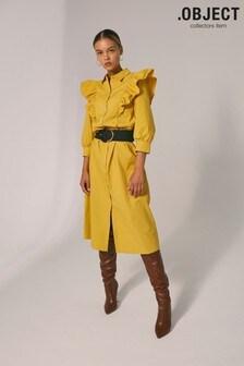 OBJECT Sustainable Yellow Ruffle Kamali Shirt Dress