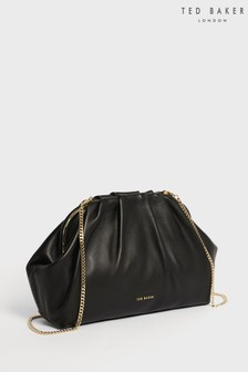 Ted Baker Black Abyoo Gathered Leather Clutch Bag