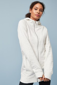 Ecru Neppy Longline Zip Through Hoody