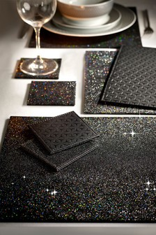 Set of 8 Black Glitter Placemats And Coasters