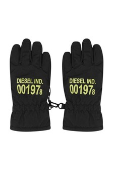 Boys Black Logo Ski Gloves