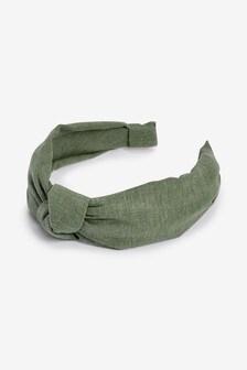 Khaki Linen Blend Headband