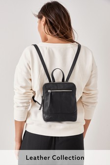 Black Mini Leather Rucksack