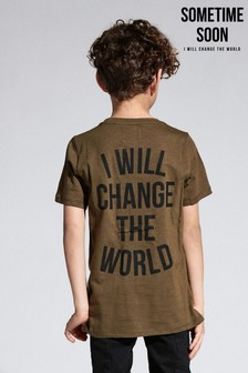 Sometime Soon Khaki Slogan T-Shirt